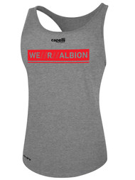 ALBION SC® SAN DIEGO WOMEN'S POLYESTER RACER BACK TANK W/ RED WE R ALBION BOX LOGO -- LIGHT HEATHER GREY -- IS ON BACK ORDER, WILL SHIP BY 2/8/21