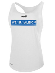 ALBION SC® SAN DIEGO WOMEN'S POLYESTER RACER BACK TANK W/ BLUE WE R ALBION BOX LOGO -- WHITE -- IS ON BACK ORDER, WILL SHIP BY 2/8/21