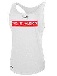 ALBION SC® SAN DIEGO WOMEN'S POLYESTER RACER BACK TANK W/ RED WE R ALBION BOX LOGO -- WHITE -- IS ON BACK ORDER, WILL SHIP BY 2/8/21