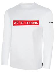 ALBION SC® SAN DIEGO BASICS COTTON LONG SLEEVE TEE SHIRT W/ RED WE R ALBION BOX LOGO -- WHITE