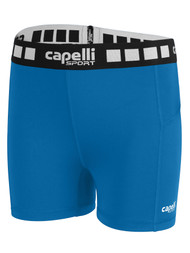 ALBION SAN DIEGO GIRLS 4'' INSEAM PERFORMANCE SHORTS -- CAPELLI SPORT BLUE WHITE