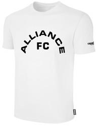 ALLIANCE FC BASICS TEE SHIRT TEXT CENTER CHEST -- WHITE BLACK