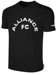 ALLIANCE FC BASICS TEE SHIRT TEXT CENTER CHEST -- BLACK WHITE