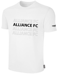 ALLIANCE FC BASICS TEE SHIRT REPEATED TEXT CENTER CHEST -- WHITE BLACK
