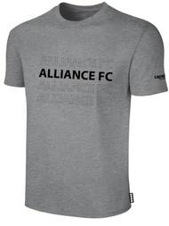 ALLIANCE FC BASICS TEE SHIRT REPEATED TEXT CENTER CHEST -- LIGHT HEATHER GREY