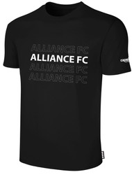 ALLIANCE FC BASICS TEE SHIRT REPEATED TEXT CENTER CHEST -- BLACK WHITE