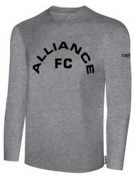 ALLIANCE FC BASICS LONG SLEEVE TEXT CENTER CHEST -- LIGHT HEATHER GREY