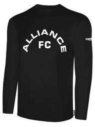 ALLIANCE FC BASICS LONG SLEEVE TEXT CENTER CHEST -- BLACK WHITE