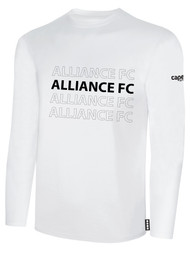 ALLIANCE FC BASICS LONG SLEEVE REPEATED TEXT CENTER CHEST -- WHITE BLACK