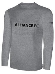 ALLIANCE FC BASICS LONG SLEEVE REPEATED TEXT CENTER CHEST -- LIGHT HEATHER GREY