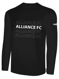 ALLIANCE FC BASICS LONG SLEEVE REPEATED TEXT CENTER CHEST -- BLACK WHITE