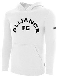 ALLIANCE FC BASICS FLEECE HOODIE TEXT CENTER CHEST -- WHITE BLACK