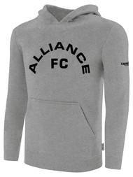 ALLIANCE FC BASICS FLEECE HOODIE TEXT CENTER CHEST -- LIGHT HEATHER GREY