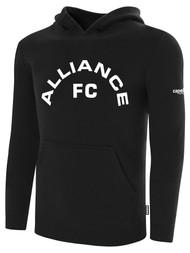 ALLIANCE FC BASICS FLEECE HOODIE TEXT CENTER CHEST -- BLACK WHITE