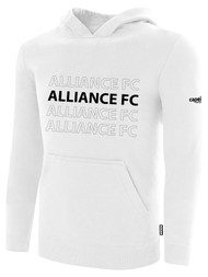 ALLIANCE FC BASICS FLEECE HOODIE REPEATED TEXT CENTER CHEST -- WHITE BLACK