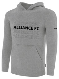 ALLIANCE FC BASICS FLEECE HOODIE REPEATED TEXT CENTER CHEST -- LIGHT HEATHER GREY