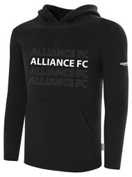ALLIANCE FC BASICS FLEECE HOODIE REPEATED TEXT CENTER CHEST -- BLACK WHITE