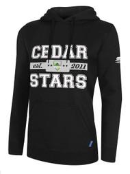 WOMENS CEDAR STARS HOODIE WITH BLOCK SCREEN PRINT -- BLACK WHITE