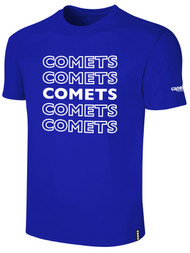 KC COMETS BASICS TEE SHIRT REPEATED TEXT CENTER CHEST -- ROYAL BLUE