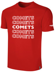 KC COMETS BASICS TEE SHIRT REPEATED TEXT CENTER CHEST -- RED WHITE