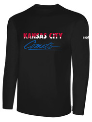 KC COMETS BASICS LONG SLEEVE TEE SHIRT TEXT CENTER CHEST -- BLACK WHITE