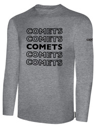 KC COMETS BASICS LONG SLEEVE TEE SHIRT REPEATED TEXT CENTER CHEST -- LIGHT HEATHER GREY