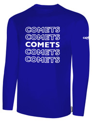 KC COMETS BASICS LONG SLEEVE TEE SHIRT REPEATED TEXT CENTER CHEST -- ROYAL BLUE