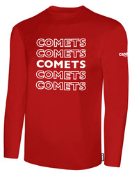 KC COMETS BASICS LONG SLEEVE TEE SHIRT REPEATED TEXT CENTER CHEST -- RED WHITE