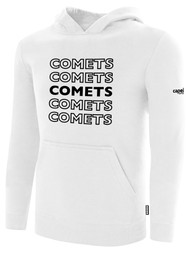 KC COMETS BASICS FLEECE HOODIE REPEATED TEXT CENTER CHEST -- WHITE BLACK