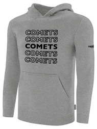 KC COMETS BASICS FLEECE HOODIE REPEATED TEXT CENTER CHEST -- LIGHT HEATHER GREY