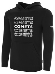 KC COMETS BASICS FLEECE HOODIE REPEATED TEXT CENTER CHEST -- BLACK WHITE