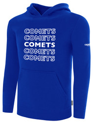 KC COMETS BASICS FLEECE HOODIE REPEATED TEXT CENTER CHEST -- ROYAL BLUE