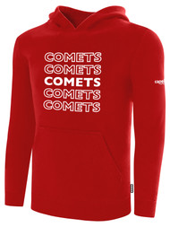 KC COMETS BASICS FLEECE HOODIE REPEATED TEXT CENTER CHEST -- RED WHITE
