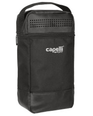 MVLA 4 CUBE SHOE BAG WITH INTERIOR ZIP & CELL PHONE POCKETS --   BLACK  SILVER
