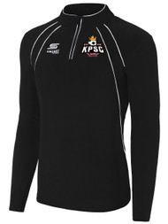 KINGS PARK RAVEN  1/4 ZIP FLEECE TOP  -- BLACK WHITE