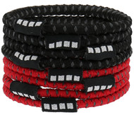 MVLA CS 8 PACK NO SLIP ELASTIC PONY HOLDERS  --   RED BLACK