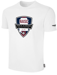 NASC BASICS TEE SHIRT W/ NASC SOCCER GRAPHIC LOGO -- WHITE BLACK
