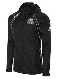 ROCHESTER JUNIOR RHINOS  RAVEN RAIN JACKET WITH ROLL UP HOOD -- BLACK WHITE ($60-$65)