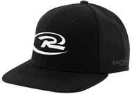 RUSH NEW ENGLAND CS II TEAM FLAT BRIM CAP EMBROIDERED LOGO -- BLACK WHITE