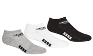RUSH NEW ENGLAND CAPELLI SPORT 3 PACK NO SHOW SOCKS-- BLACK LIGHT HEATHER GREY WHITE