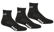 RUSH NEW ENGLAND CAPELLI SPORT  3 PACK QUARTER CREW SOCKS -- BLACK