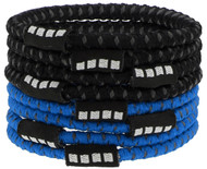 RUSH NEW ENGLAND CAPELLI SPORT 8 PACK NO SLIP ELASTIC PONY HOLDERS  --  BRIGHT BLUE