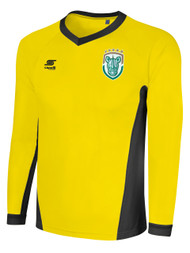 ROCHESTER JUNIOR RHINOS NUMBER ONE METALLIC LONG SLEEVE GOALKEEPER JERSEY W/PADDING -- YELLOW BLACK