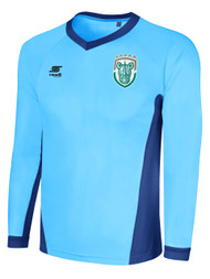 ROCHESTER JUNIOR RHINOS NUMBER ONE METALLIC LONG SLEEVE GOALKEEPER JERSEY W/PADDING -- SKY BLUE / PROMO BLUE