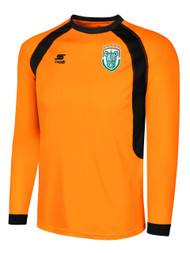ROCHESTER JUNIOR RHINOS RAVEN LONG SLEEVE GOALKEEPER JERSEY W/PADDING -- NEON ORANGE / BLACK -- AL IS ON BACK ORDER