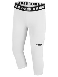 FUSION FC GIRLS AND WOMEN 3/4 PERFORMANCE TIGHTS -- WHITE BLACK