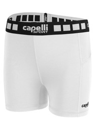 "FUSION FC WOMEN'S 5"" PERFORMANCE SHORTS -- WHITE BLACK"