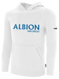 ALBION SC® SAN DIEGO BASICS FLEECE PULLOVER HOODIE W/ BLUE ALBION SAN DIEGO LOGO -- WHITE BLACK