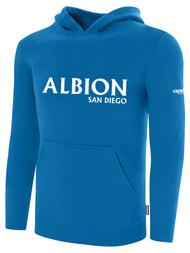 ALBION SC® SAN DIEGO BASICS FLEECE PULLOVER HOODIE W/ WHITE ALBION SAN DIEGO LOGO -- BLUE WHITE