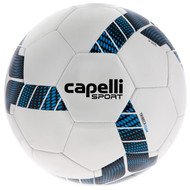 FUSION FC CAPELLI SPORT TRIEBCA MACHINE STITCHED SOCCER BALL --  WHITE NEON BLUE BLACK